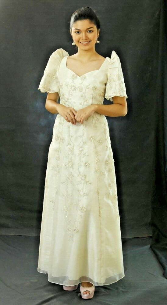 FILIPINIANA DRESS Embroidered Mestiza Maria Clara Gown Tagalog ...