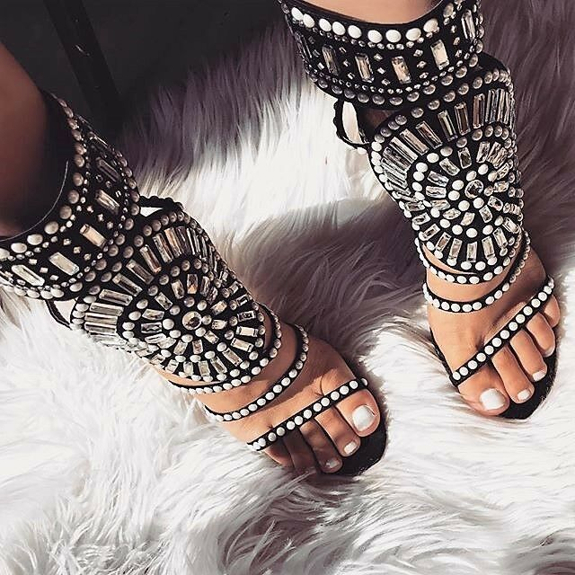a153ec6e030 Details about Black White Pearl Studded Rhinestone Open Toe Strappy  Gladiator Heels