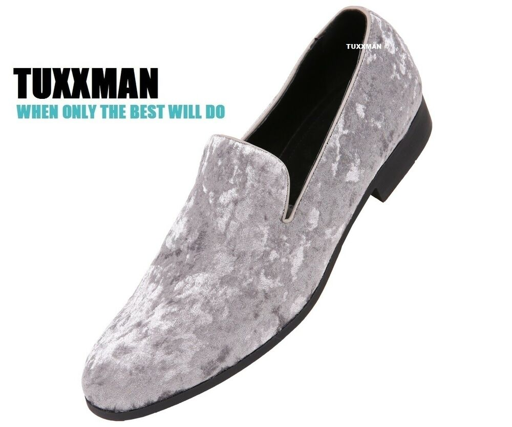 16a7e73850c Details about New Mens Silver Crushed Velvet Slip On Dress Shoes TUXXMAN  Loafers Prom Tuxedo