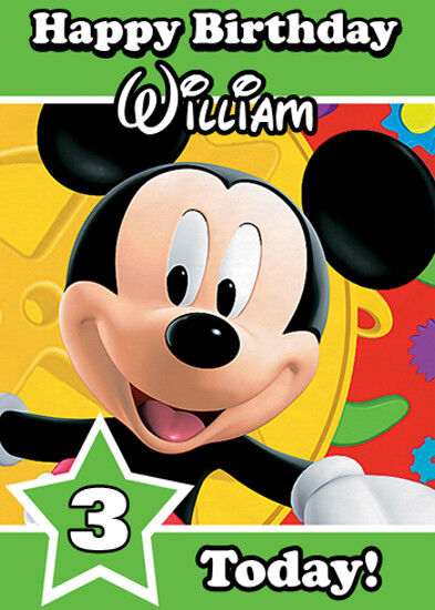 Details About Mickey Mouse Green Personalised Birthday Card Add Your Own Name Age
