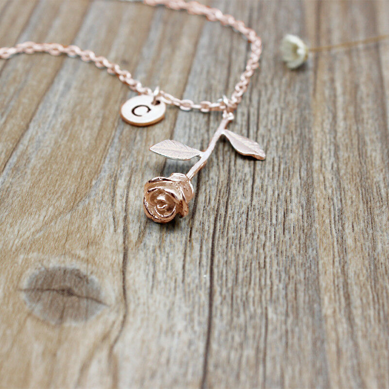 af08010f6568 Details about Women s Fashion Jewelry Custom Personalized Initial Rose Gold Rose  Necklace