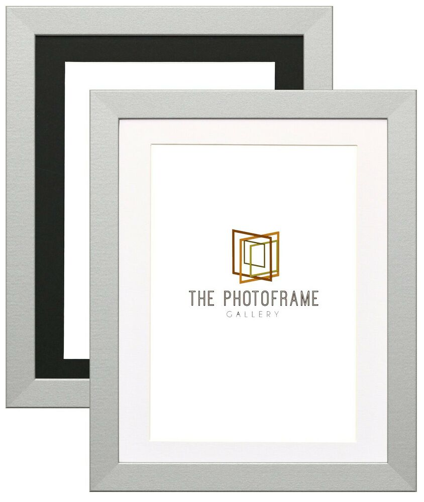Silver Picture Frame With Mount Photo Frames Wood Effect Picture ...