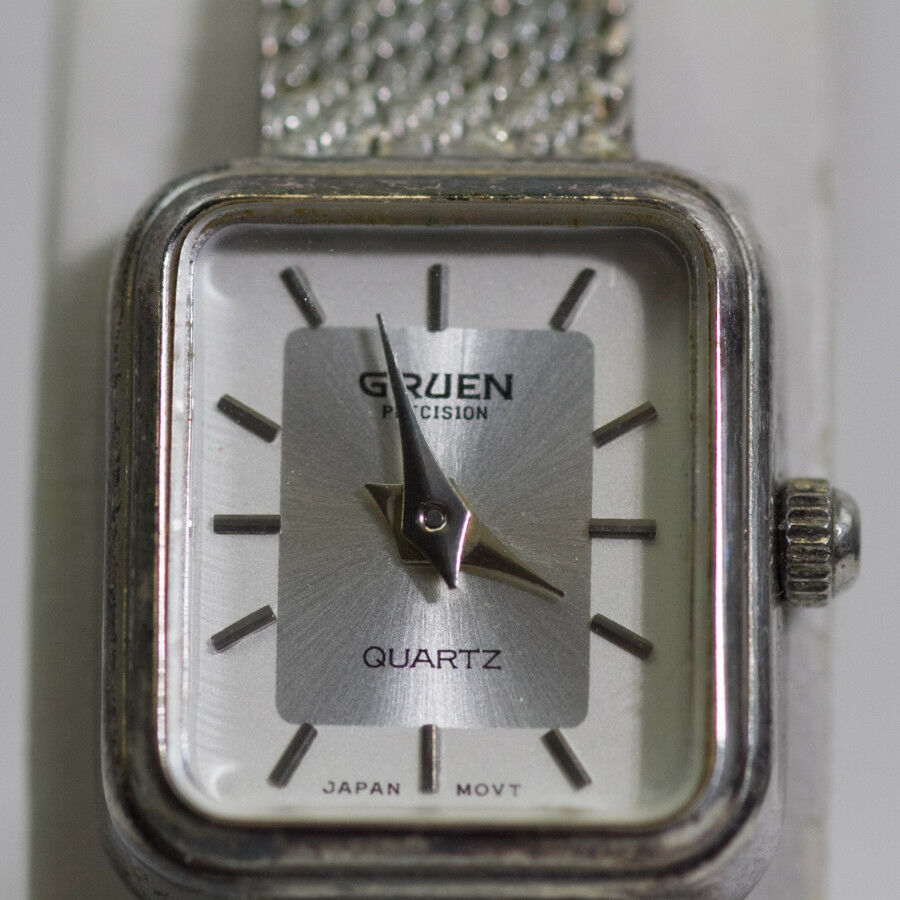 VINTAGE GRUEN PRECISION SILVER TONE STAINLESS STEEL QUARTZ WATCH JAPAN  MOV'T | eBay