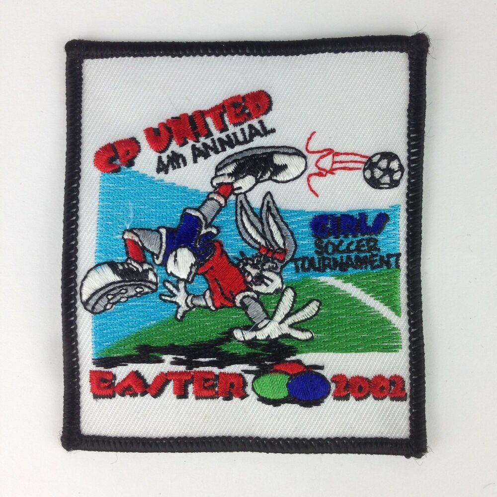 a46ee3124c7f5 Details about CP United Girls Soccer Ball Tournament Patch Easter 2002 Bunny  Bicycle Kick Cute