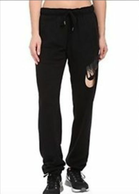 3c16ad4c7c04 Details about NWT Women s Nike Rally Metallic Pants Sweatpants Loose Fit  Black Rose Gold