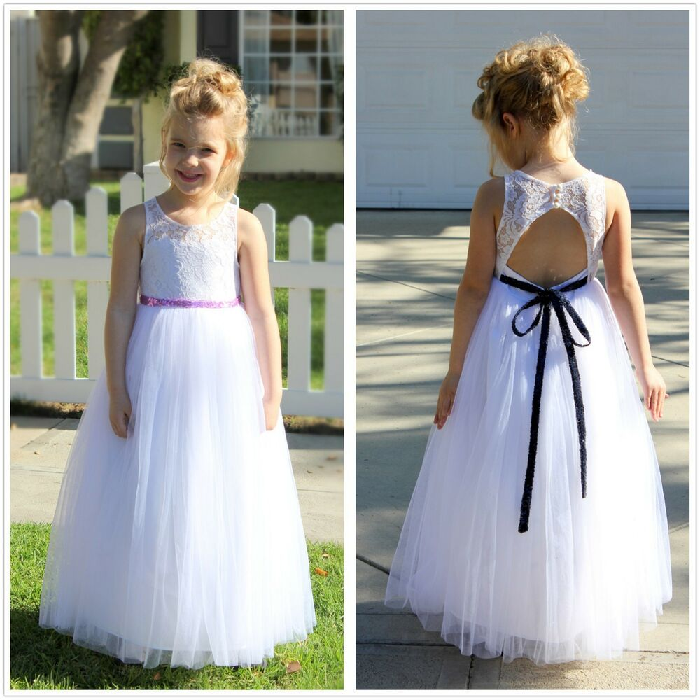 d0817f0279a Lace Tulle White A-Line Flower Girl Dresses Communion Dress Toddler Girl  Dress