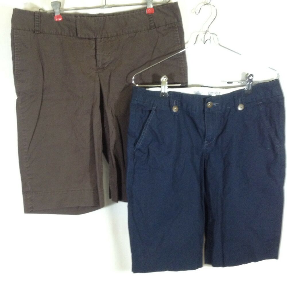 Details about Converse One Star   Mossimo Womens Shorts Lot of 2 Bermuda  Blue Brown Cotton 10 330109784