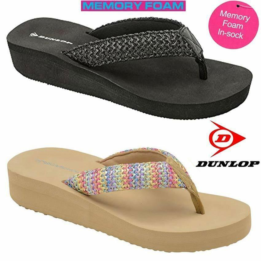 162be205970353 Details about Ladies Womens Dunlop Memory Foam Comfort Walking Beach Wedge  Sandals Shoes Size