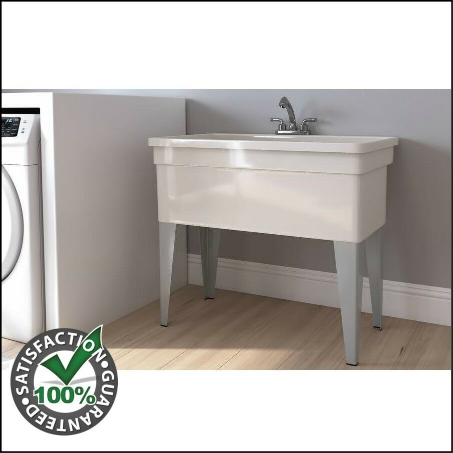 Utility sink with legs laundry room dog wash tub basin pull out utility sink with legs laundry room dog wash tub basin pull out faucet large pet ebay solutioingenieria Images