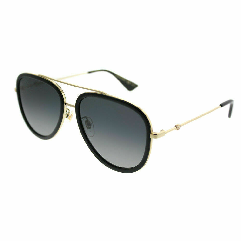 d7ccc7e24de Details about Gucci GG 0062S 011 Black Gold Aviator Sunglasses Grey Gradient  Polarized Lens