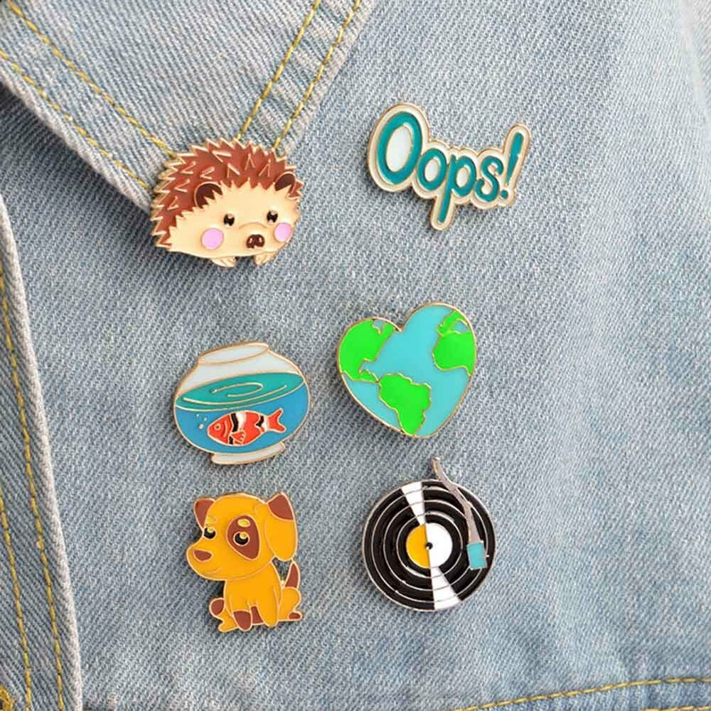 Arts,crafts & Sewing 1 Pcs Cute Cartoon Fish Cat Metal Badge Brooch Button Pins Denim Jacket Pin Jewelry Decoration Badge For Clothes Lapel Pins Apparel Sewing & Fabric