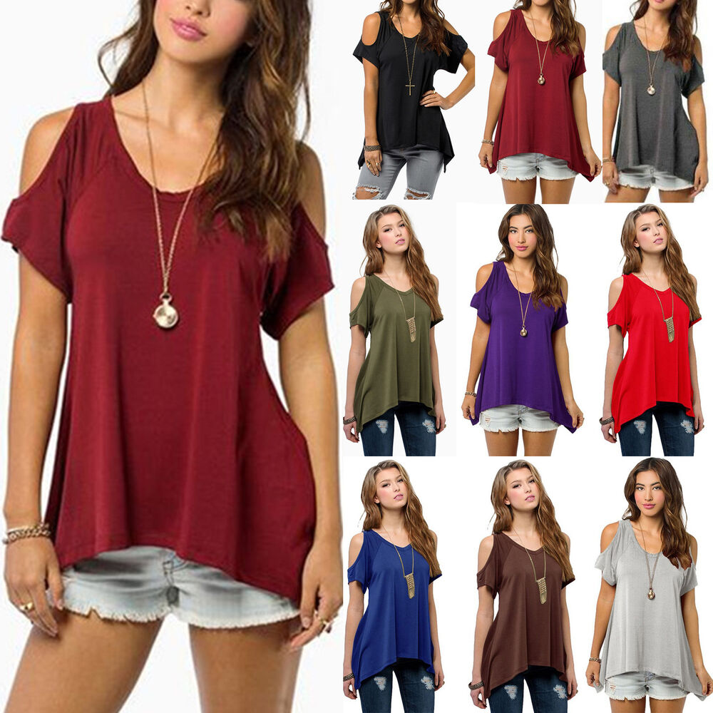 61bb9a16e75 Details about Women Off Shoulder Loose Tops Blouse Summer Short Sleeve Lady  Oversized T-shirts
