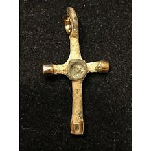 ANCIENT BYZANTINE BRONZE CROSS PENDANT; w/ MODERN 18 CT GOLD TIPS AND LOOP!