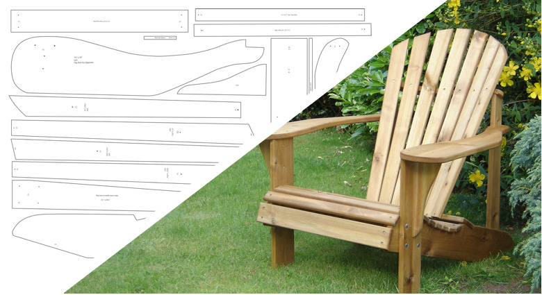 adirondack chair plans with footstool ebay. Black Bedroom Furniture Sets. Home Design Ideas
