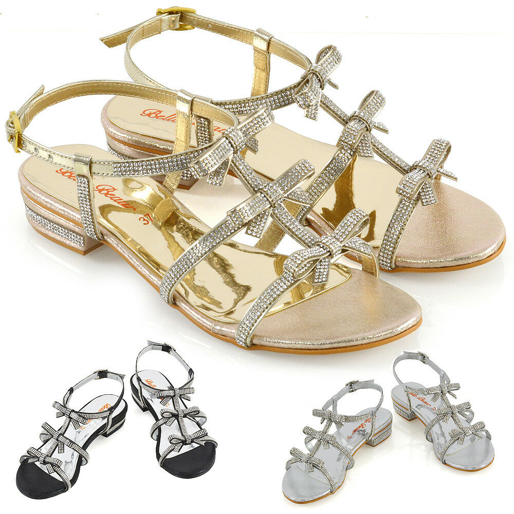 6b2bb61fc708d Details about Womens Flat Strappy Sandals Diamante Bow Ladies Party Holiday  Sparkly Heel Shoes