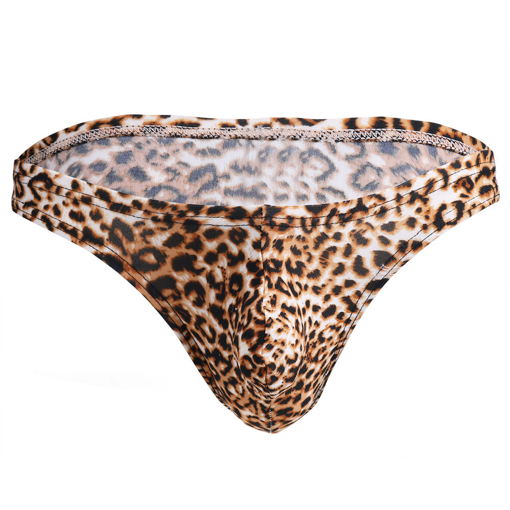 a9e230ffed3 Details about Sexy Men s Underwear Thong Briefs Shorts Bikini Leopard Print  Underpants Tangas