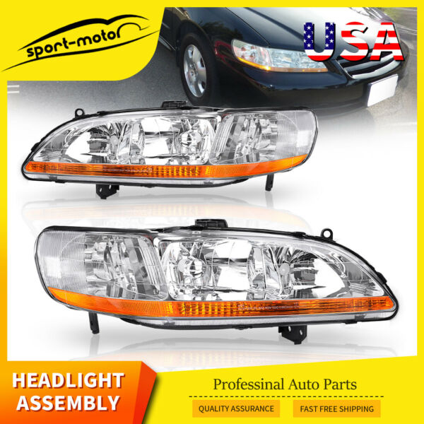 Headlights Assembly Replacement for 1998-2002 Honda Accord w/ Amber Reflector