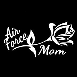 H183 AIR FORCE MOM ROSE MILITARY WHITE VINYL DECAL CAR TRUCK SUV LAPTOP