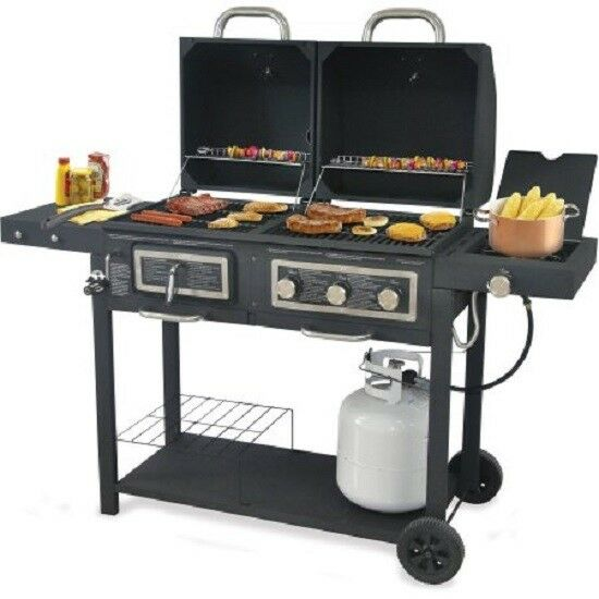 Details About Hybrid Dual Fuel Combination Charcoal Gas Grill Black