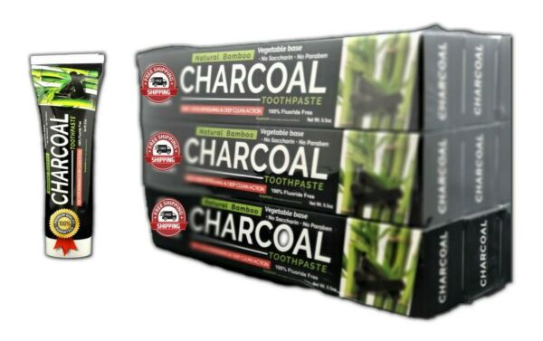 Organic Bamboo Charcoal Black Toothpaste Natural Teeth Whitening 6Pack Oral Care