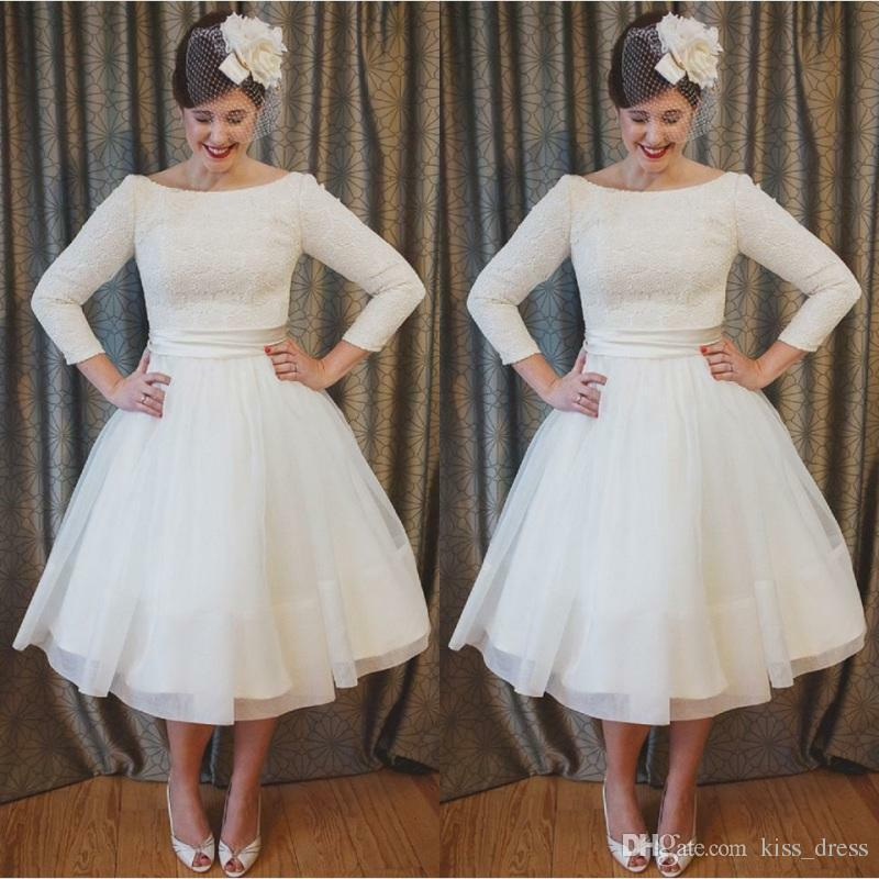 c4281f73326 Details about Plus Size Short Wedding Dress Vintage Style Scoop Neckline A-Line  Bridal Gown