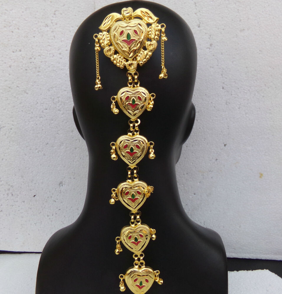 Indian 22k Gold Plated Wedding Necklace Earrings Jewelry: Asian Indian Wedding Hair Decoration Jewelry Gold Plated