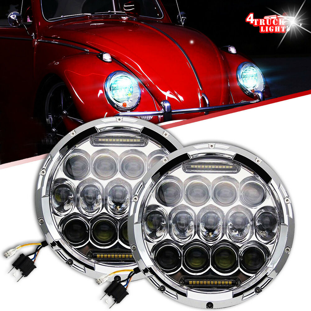 Classic Vw Beetle Engine Upgrades: LED Headlamp Headlights Chrome Upgrade DRL Light Kit For