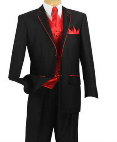 Black Tuxedo With Red Edge and Red Vest Custom Made To