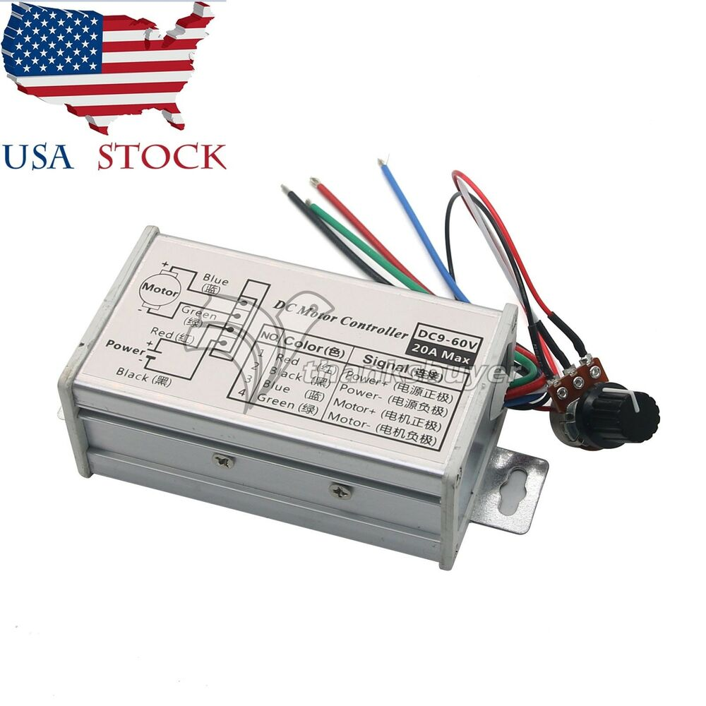 PWM DC Motor Stepless Variable Speed Controller Switch 12V 24V Max 20A US |  eBay