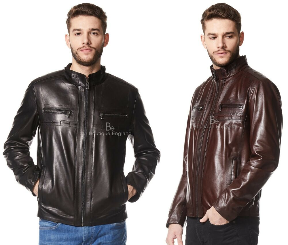80d80d0c71d Details about Men s Real Italian leather Jacket Ultra-Stylish Biker  Motorcycle Style 9054