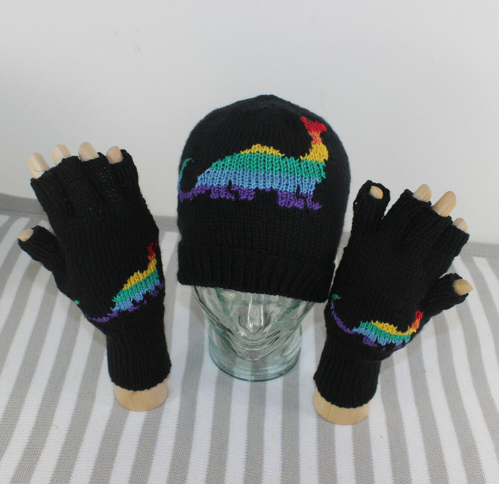 Details about PRINTED INSTRUCTIONS -RAINBOW DINOSAUR BEANIE HAT   GLOVES  KNITTING PATTERN c05f6f11999