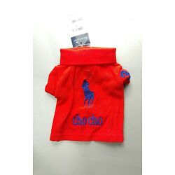 RALPH LAUREN PONY 100% COTTON RED PERSONALIZED DOG POLO SHIRT/DOG-OUTFIT SZ: XS