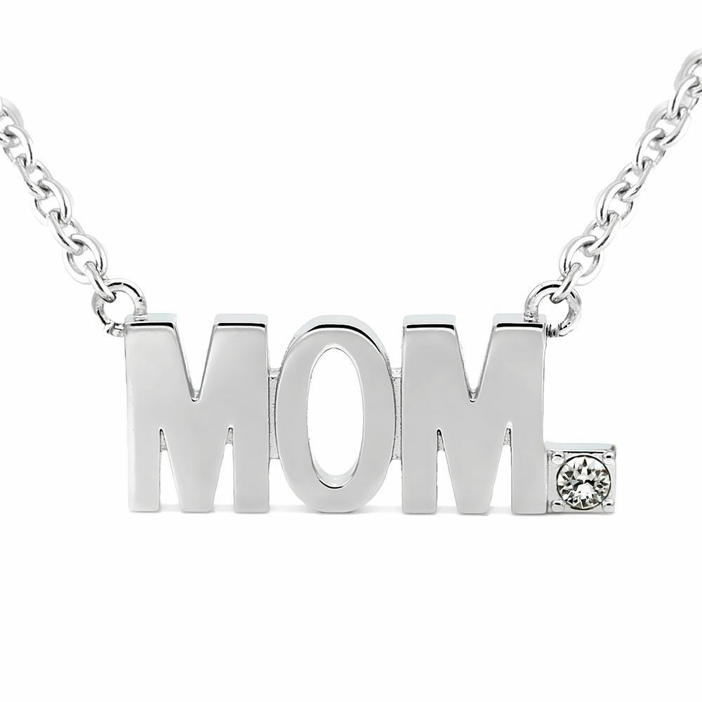200591ba4 Details about MOM Pendant Block Letter Necklace with Swarovski Crystals  Jewelry By Controse