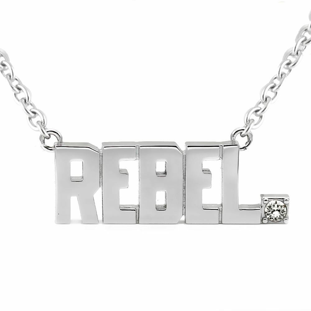 ca81b339d Details about REBEL Pendant Block Letter Necklace with Swarovski Crystals  Jewelry By Controse