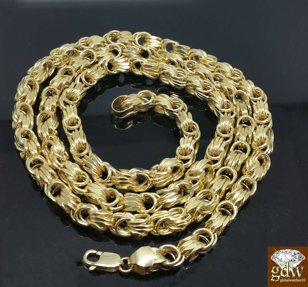 Real 10k Yellow Gold Byzantine Chino Chain Necklace 26