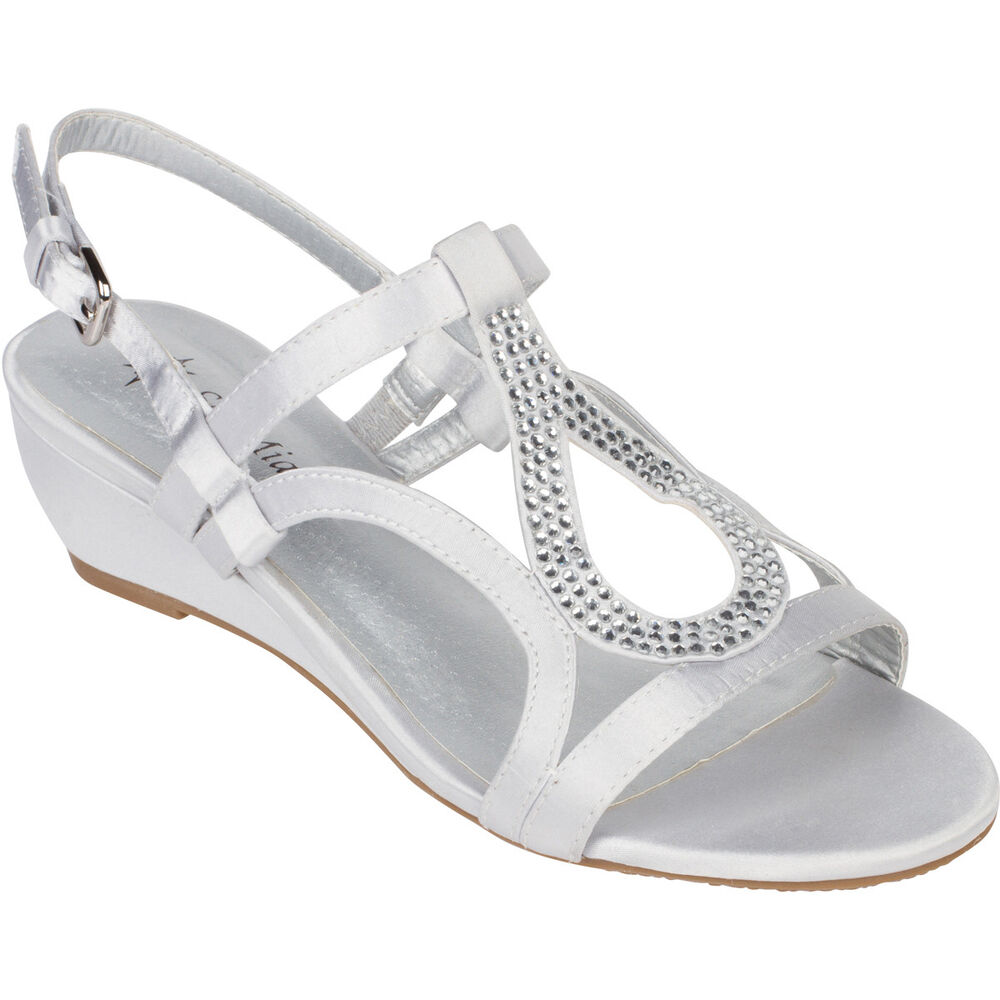 Silver Dress Shoes Low Heel Wedge Sandals Bridal Wedding ...
