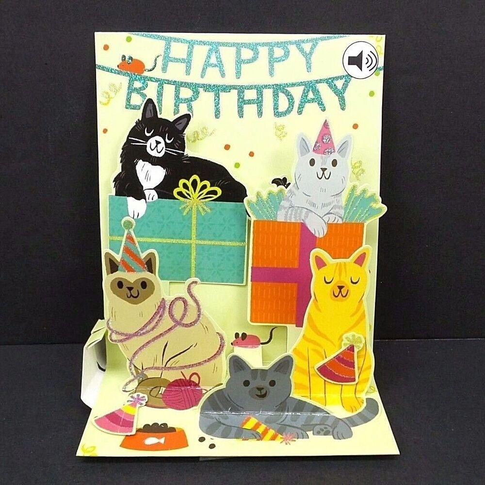 Feline Birthday Greeting Card 3D Pop Up With Sound Effects Happy 48641597459