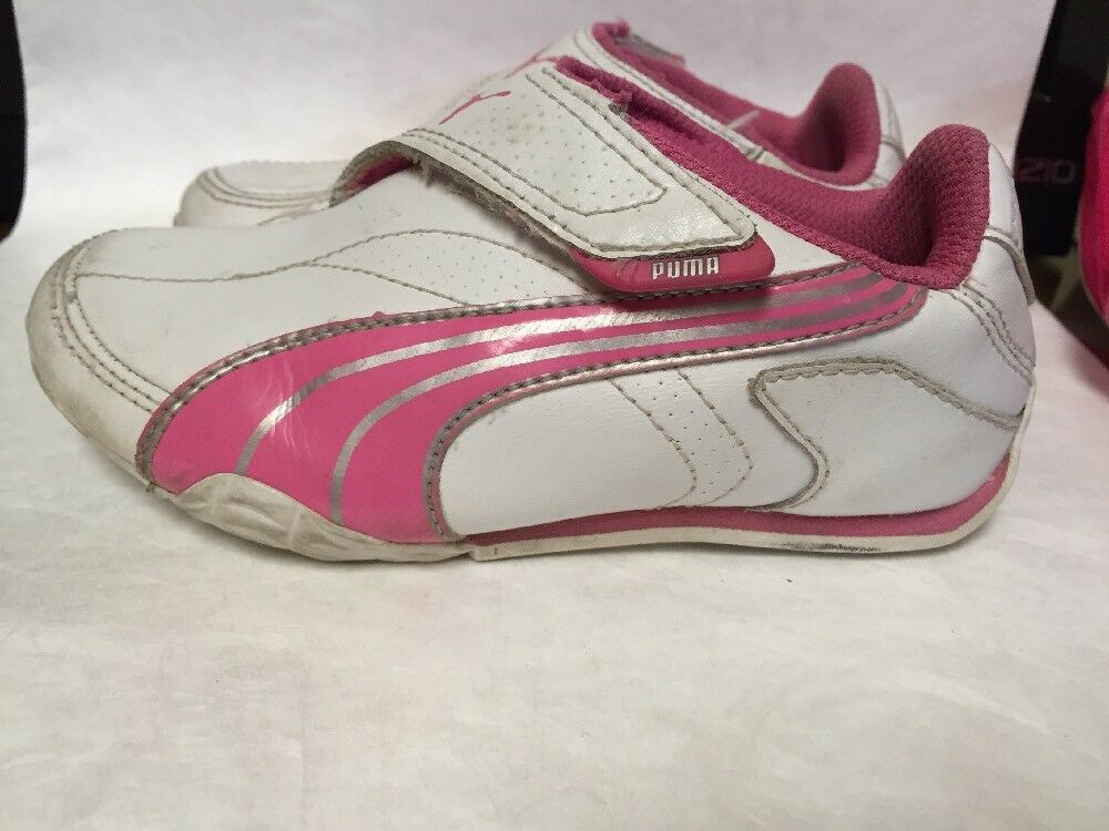 2ba4323ba14a Details about Puma Jiyu 2 Girls Pink White Leather Athletic Shoes  Toddler Child Sz 11