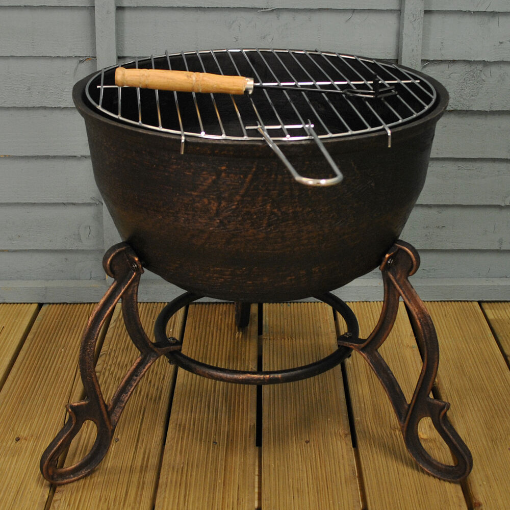 Details About Elidir Cast Iron Outdoor Fire Bowl Pit Bbq Grill By Gardeco