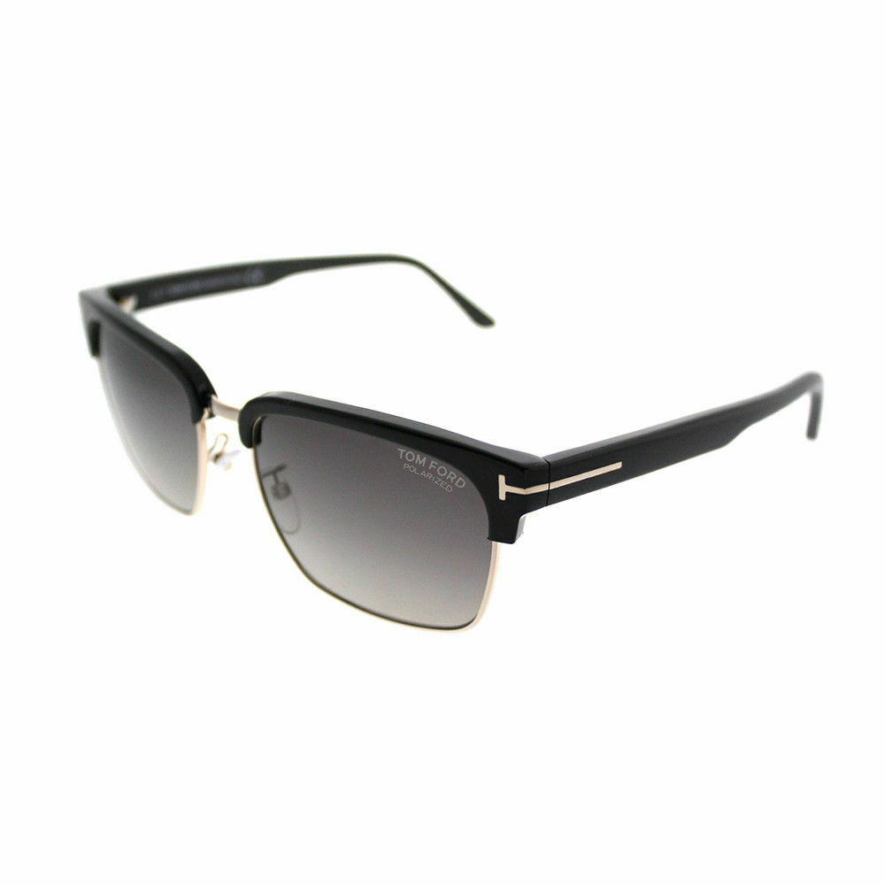 b8771375b4d1a Details about Tom Ford River TF 367 01D Shiny Black Gold Sunglasses Grey  Polarized Lens