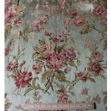 Antique French 19thC Rose Bouquet Tapestry Silk & Cotton Fabric~1yd13