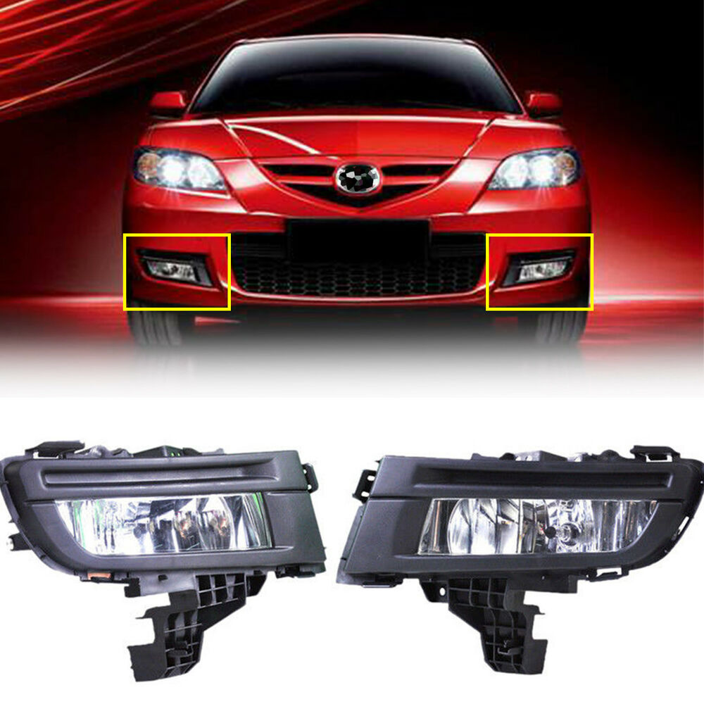 Details About New Black Pair Front Left Right Fog Lights Lamp For Mazda 3 2007 2008 2009