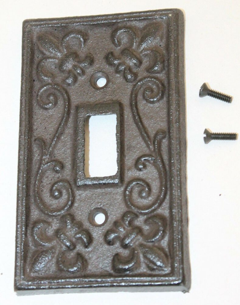 Rustic Cast Iron French Fleur De Lis Single Light Switch