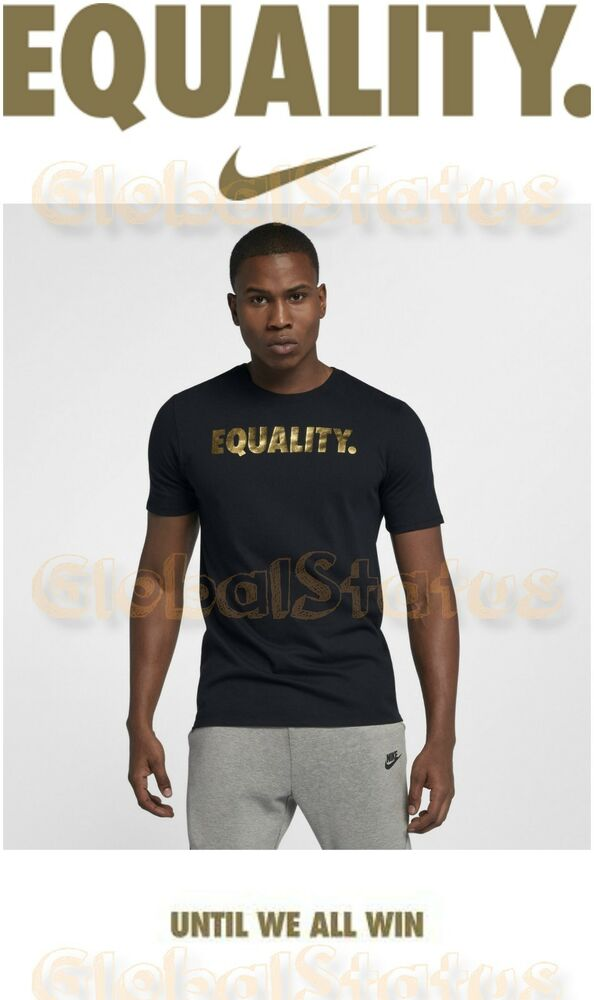 50856d07e Details about RARE MEN NIKE MLK DAY EQUALITY BLACK METALLIC GOLD DRIFIT  SHIRT AO8200 010 LARGE