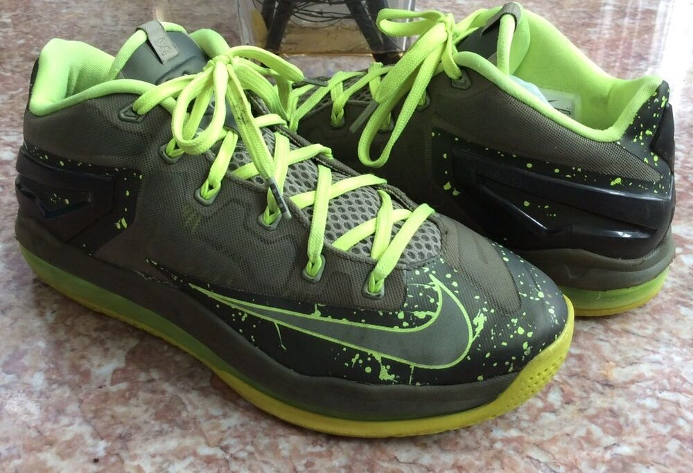 bc12d9b5de8 Details about Nike Lebron XI Low Men s Green Olive Volt Basketball Shoes  Size 10  642849-200