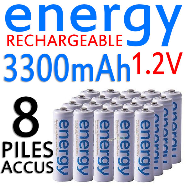 8 PILES ACCUS RECHARGEABLE AA ENERGY NI-MH 3300mAh 1.2V LR06 LR6 R06 R6 ACCU
