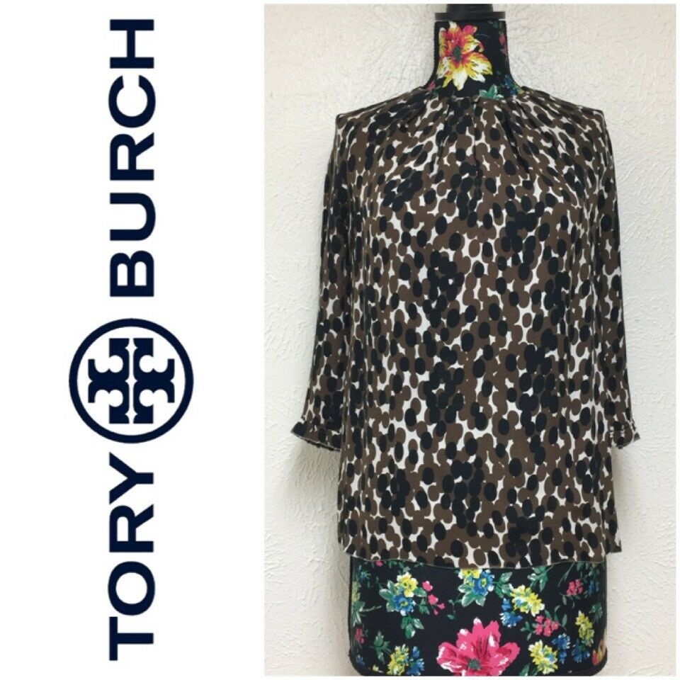 00eaf09410100 Details about Tory Burch 100% Silk Blouse Top Size 8 Brown Black Printed