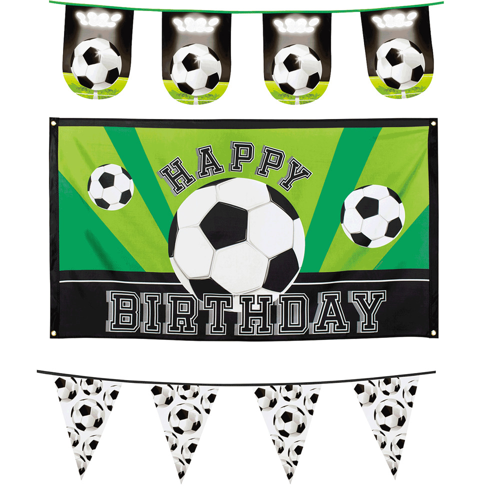 Details About Football Soccer Themed Happy Birthday Party Flag Banner Bunting Decorations