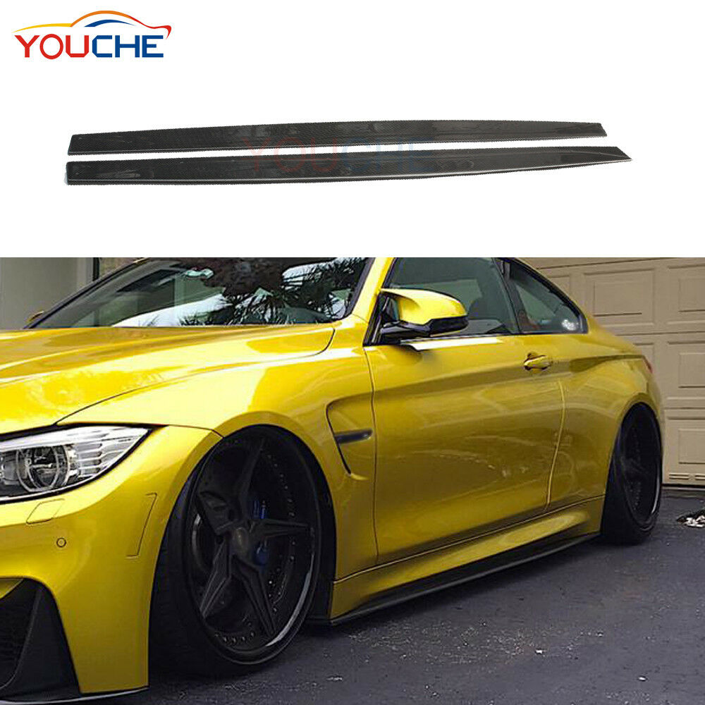For BMW F80 M3 F82 M4 Carbon Fiber Side Skirt Extension 3D