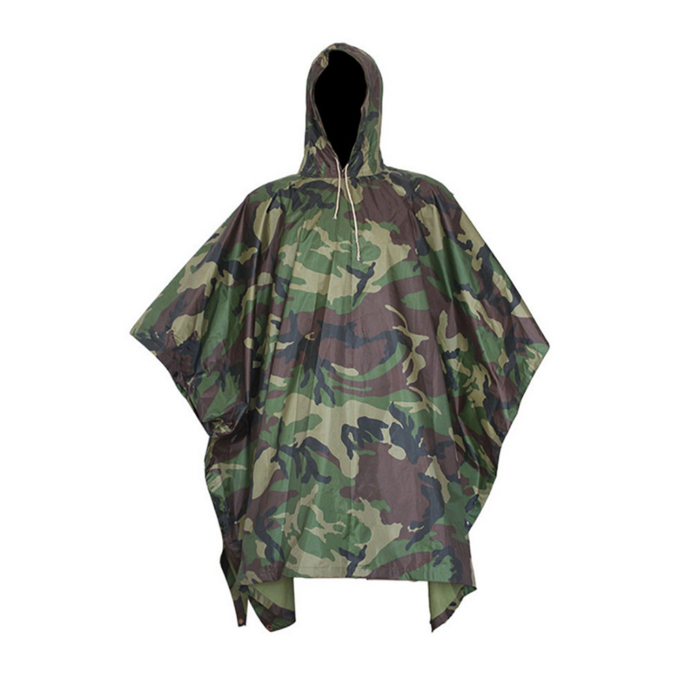 aac2ea09da4cd Details about Men Outdoor Military Army Camo Raincoat Hooded Camping Hunting  Waterproof Coat